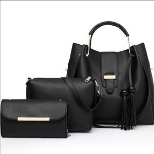 Handbags - Set of 3! Tote, Crossbody and Clutch set Black